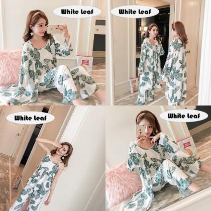 4GL Women 3 IN 1 PYJAMAS Nightwear Sleepwear Pajamas Set Baju Tidur Tido Perempuan