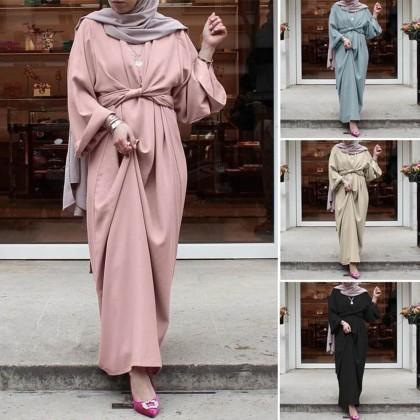 4GL Muslimah BELTED Long Dress Muslimah Dress Women Dress Maxi Dress Long Sleeve Baju Muslimah Baju Perempuan