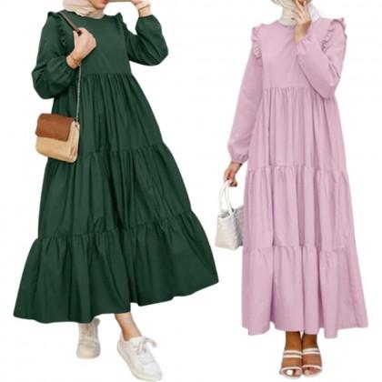 4GL Muslimah LAYERED 003 (LONG DRESS) Muslimah Dress Women Dress Maxi Dress Long Sleeve Baju Muslimah Baju Perempuan