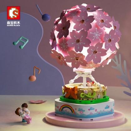 4GL Sembo 601150 Cherry Blossom Hot Air Balloon Model Light Music Box Lover Gift 718 Pcs