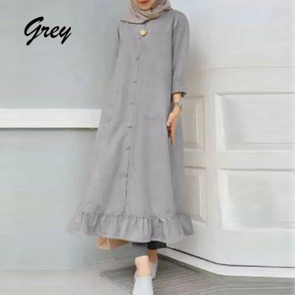 4GL Muslimah LD219219 Button Down Frilled Hem Muslim Dress Muslimah Dress Women Dress Maxi Dress Baju Muslimah Perempuan