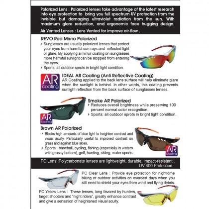 4GL Ideal Activ S 5-in-1 Sport Sunglasses (TR90 Frame 3 Polarized Lens)