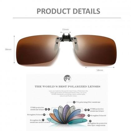 4GL CS04 Clip On Polarized Sunglasses Square Shape Sunglass Anti Glare UV400