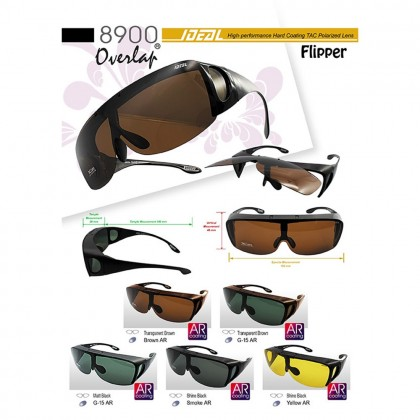 4GL Ideal 8900 Polarized Sunglasses Flipper Fit Over Overlap