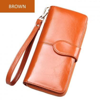 4GL H980/06 Long Purse Fashion Lady Oil Wax Leather Purse Wallet Wallets Dompet