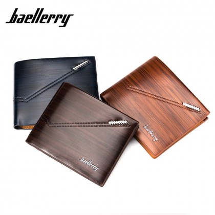 4GL BAELLERRY Fashion Minimalist Men Short Wallet Leather Purse Dompet DR007