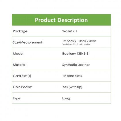4GL Baellerry 13845-3 Handphone Purse Long Design Zip Wallet Wristlet