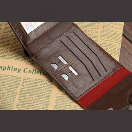 4GL Baellerry D0129 Short Wallet Men Women Purse Leather Dompet