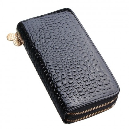 4GL Ladies Long Purses Women Wallets Double Zipper Clutch 9118