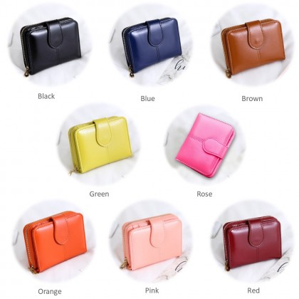 4GL 1615/07 Short Purse Fashion Lady Oil Wax Leather  Wallet Wallets Bag Beg Women