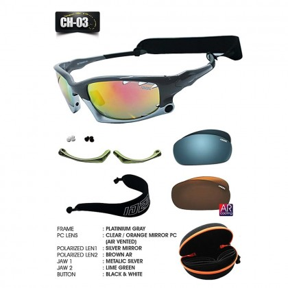 4GL Ideal Chameleon 7 in 1 Polarized Sunglasses Lightweight Air Vented Sport Cycling