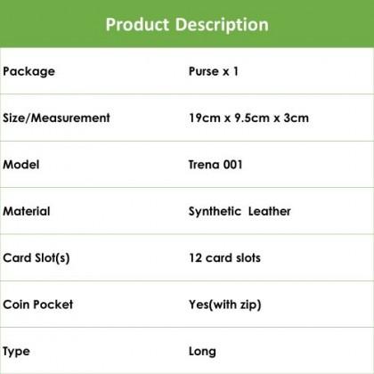 4GL Korean Fashion Trena Long Purse Wallet With Coin Pocket Zip Trena001