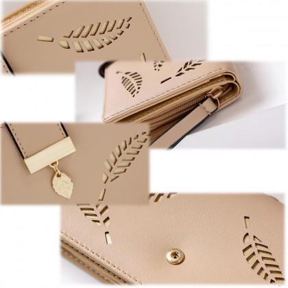 4GL 8J3117 Fashion Hollow Out Leaves Women Long Purse Wallet Credit Card Holder