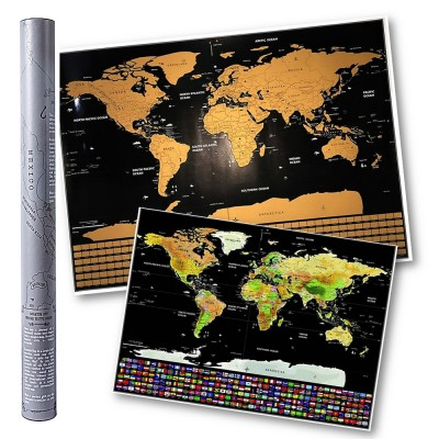 4GL Grey Scratch Off Large Educational World Map Travel Map Wall Map Poster