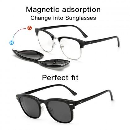 4GL Magnetic Clip On 6 in 1 Polarized Sunglasses Men Sunglasses For Women Sunglasses Women UV400 Cermin Mata Hitam