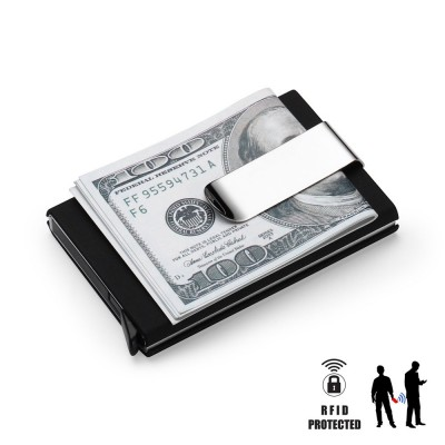 4GL RFID Protected Pop-up PU Leather Metal Card Holder Money Clip