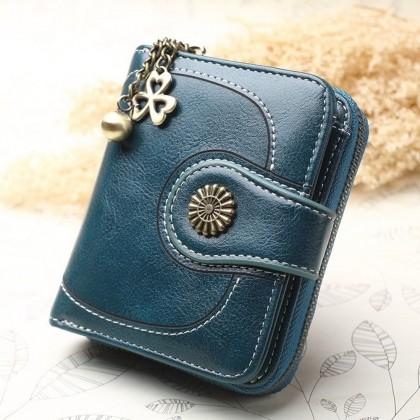 4GL Women Retro Flower 173 Oil Wax Leather Short Purse Wallet Bag Beg Women