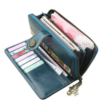 4GL 170 Fashion Lady Retro Flower Oil Wax Leather Long Purse Wallet Wallets Dompet