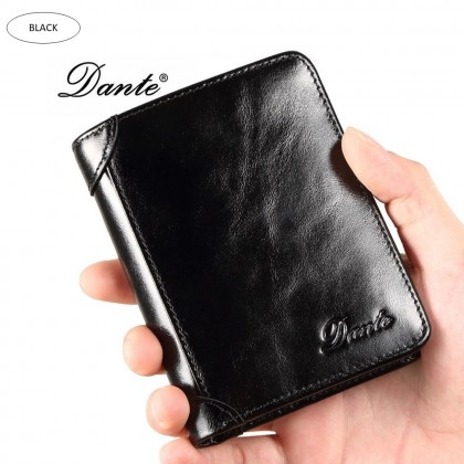 4GL DANTE B922 Leather Men Short Wallet Purse Dompet with Box and Paper Bag