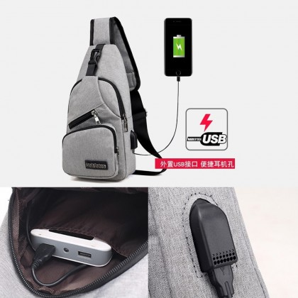 4GL MJL Crossbody Men Woman Unisex Fashion USB Sling Bag Chest Bag