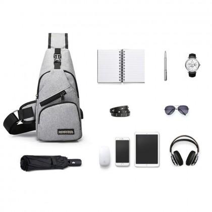 4GL MJL Men Woman Unisex Fashion USB Crossbody Sling Bag Chest Bag