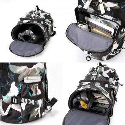 4GL Floral Backpack Bag Pack 3 Way Use Travel Duffle Bag Sling Bag Luggage Bag Beg