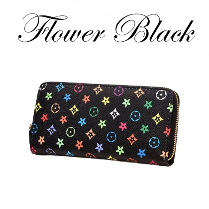4GL Women Purse Flower Square Leather Long Purse Wallet Dompet Bag Beg A0340