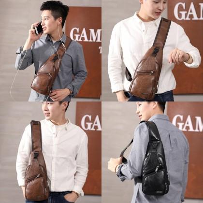 4GL RETRO LEATHER Crossbody Men Bag USB Bag Sling Bag Chest Bag Beg A0811