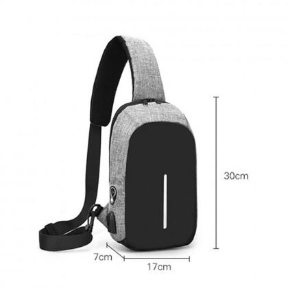 4GL Men Bag NEW ONE LINE USB Anti Theft Thief Crossbody Bag Sling Bag Chest Bag Beg A0812