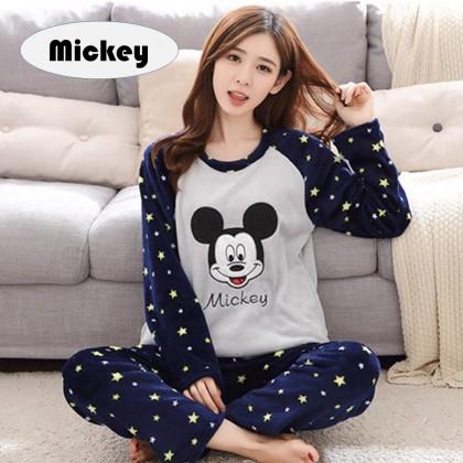 4GL WOMEN CARTOON Pyjamas Long Sleeve Nightwear Pajamas Set Baju Tidur Tido Perempuan (M-3XL)