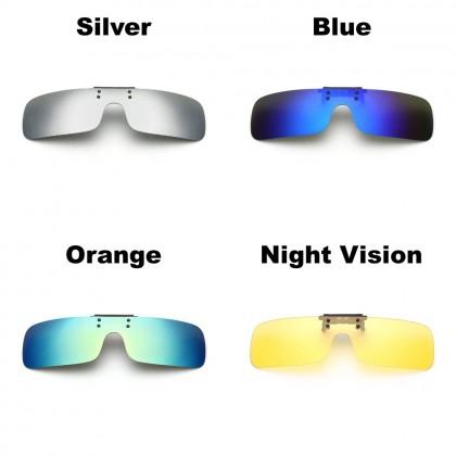 4GL CS07 Clip On Polarized Sunglasses Day Night Vision Driving Glasses Eyewear Cermin Mata